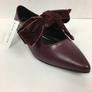 Ann Taylor Bow Flats Burgundy Ballerina Shoes
